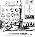 Eighteenth century engraving of High Cross by William Stukely published in John Nichols History of Leicestershire (Guthlaxton) 1807.jpg