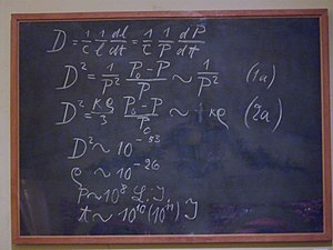 Museum of the History of Science, Oxford - Einstein's Blackboard, used by Albert Einstein in a 1931 lecture in Oxford.