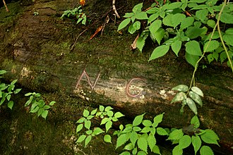 "Ellicott's Rock with ""NC"" marked in red chalk Ellicotts Rock July 2007.jpg"