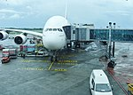 Emirates Airbus A380 at Sir Seewoosagur Ramgoolam International Airport in Mauritius.jpg