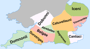 Dumnonii - The location of the Dumnonii in what is now Cornwall and Devon.