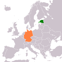 Map indicating locations of Estonia and Germany