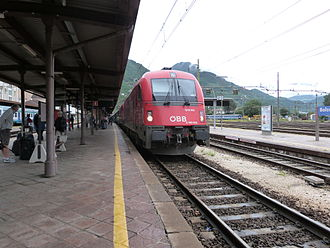 Austrian Federal Railways - A ÖBB EuroCity (EC) train in Bozen, South Tyrol