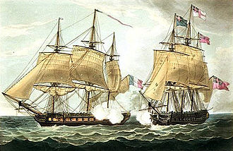 French frigate Clorinde (1808) - Image: Eurotas and Clorinde cropped