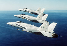 F-18s from VFMA-314 in formation.jpg