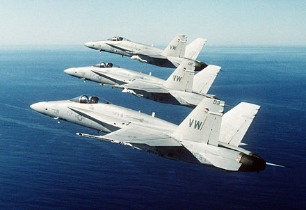 "F/A-18 Hornets of VMFA-314, ""Black Knights"" F-18s from VFMA-314 in formation.jpg"