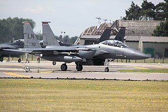 RAF Lakenheath - Boeing F-15E Strike Eagles of the 48th Fighter Wing taxiing at Lakenheath.