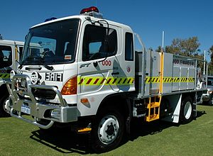 2015 Esperance bushfires - A Hino 2.4 Rural Tanker, one of the models used by Volunteer Bush Fire Brigades in rural Western Australia