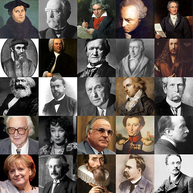 English: Collage of 25 Famous Germans