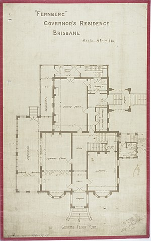 Government House, Brisbane - Ground Floor Plan, c 1884