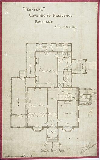 Government House, Brisbane - Ground Floor Plan, c 1884