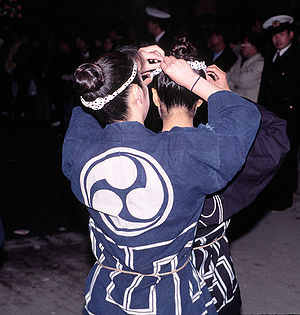 Happi - Women at a festival wearing a happi