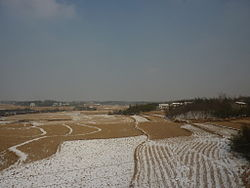 Winter farm landscape near Lu'an urban area