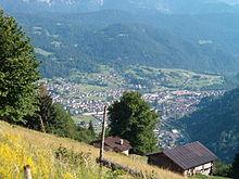 Veduta dell'alta valle di Primiero dal colle di Polina-Strina