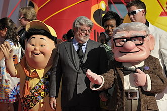 Up (2009 film) - George Lucas with the film's protagonists at the 66th Venice International Film Festival in September 2009.