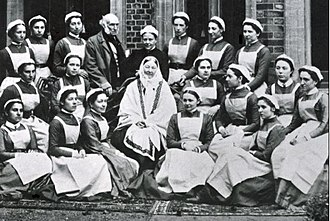 Florence Nightingale Faculty of Nursing and Midwifery - Florence Nightingale posing with her class of nurses from St. Thomas' Hospital. Also on the photo is Sir Harry Verney, an active supporter of the nursing school.