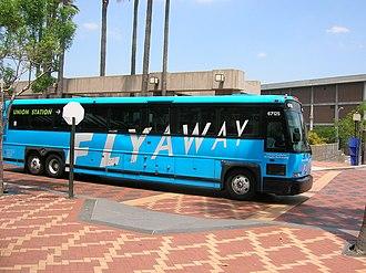 Patsaouras Transit Plaza - FlyAway coach at the Patsaouras Transit Plaza.