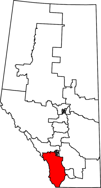 Foothills (electoral district) - Foothills in relation to other Alberta federal electoral districts as of the 2013 Representation Order.