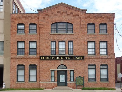 The front façade of the Ford Piquette Avenue Plant at 461 Piquette Avenue, Detroit, Michigan. Built in 1904, this building was the second home of the Ford Motor Company (and the oldest still standing), and was where the first Ford Model Ts were produced. Now a museum, it is the oldest, purpose-built car factory building in the world open to the public. The building's façade was fully restored and revealed to the public on September 27, 2008, the 100th anniversary of the first Ford Model T to roll out of the plant.