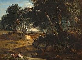 La forêt de Fontainebleau, Jean-Baptiste-Camille Corot (1830). Les rêveurs du XVIIIesiècle aimaient se promener dans la nature. C'est dans cette forêt que Musset puisa l'inspiration de Souvenir, l'un de ses plus beau poèmes. (National Gallery of Art, Washington, DC).