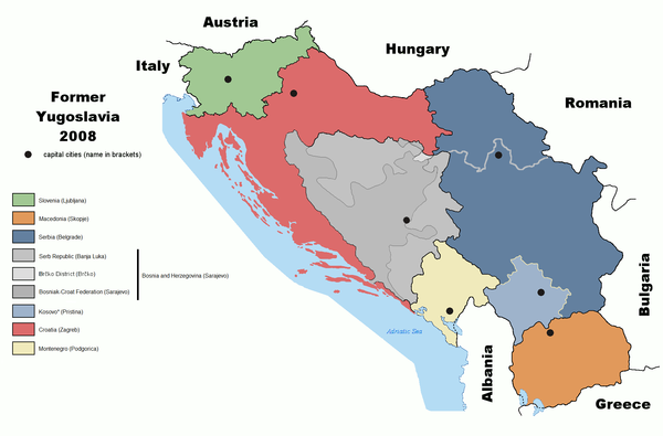 Map of the former Yugoslavia Former Yugoslavia 2008.PNG