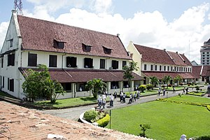 Colonial architecture of Indonesia - Fort Rotterdam in Makassar a typical Dutch fort of the 17th century.