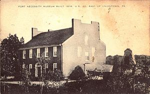 Fort Necessity National Battlefield - An old Postcard of the Fort Necessity Museum.