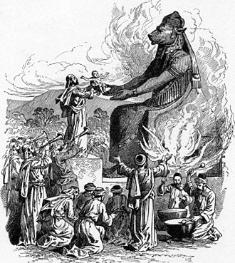 Moloch - Offering to Molech (illustration from the 1897 Bible Pictures and What They Teach Us by Charles Foster)