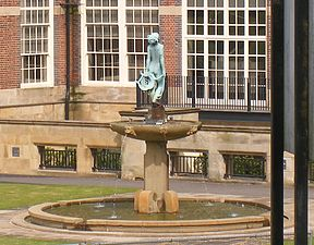 Fountain with a woman and a harp, outside the Cadbury Factory (4291067993).jpg