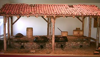 Labrador - Model of Basque whale oil melting factory at Red Bay