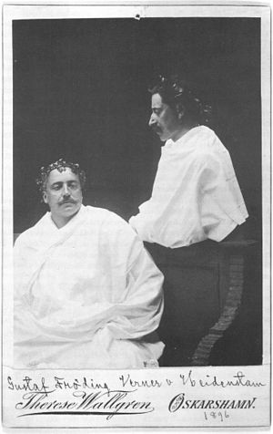Gustaf Fröding - Gustaf Fröding and Verner von Heidenstam dressed in togas, the day after Heidenstams marriage at Blå Jungfrun