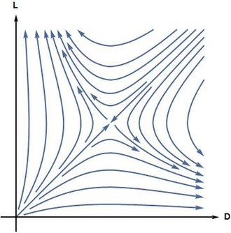 Homochirality - Phase portrait of Frank's model: starting from almost everywhere in L-D plane (except L = D line), the system approaches to one of the homochiral states