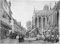 Frankfurt Am Main-Peter Becker-BAAF-002-Der Dom der Fischmarkt und die Partie am Leinwandhaus nach der Saalgasse-1860.jpg