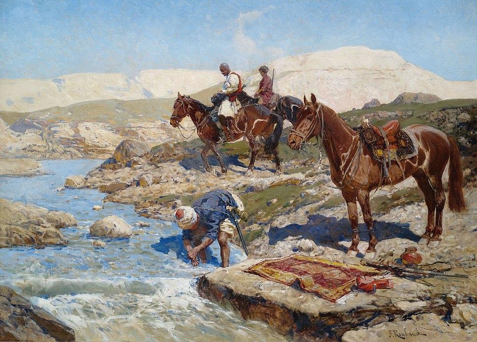 Franz Roubaud Tscherkessische Reiter an einem Fluss