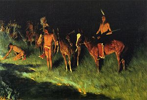 Native American use of fire - The Grass Fire, Frederic Remington 1908, Amon Carter Museum, Fort Worth, Texas.