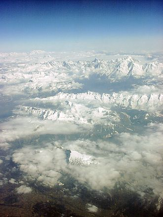 French Alps - Aerial photograph of the Mont Blanc massif, the tallest mountain in the French Alps, seen from the west