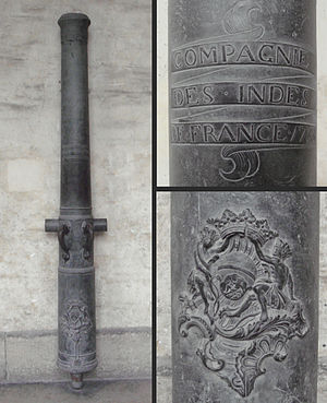 "French East India Company - French East India Company cannon (""Canon de 4""). Bronze, 1755, Douai. Caliber: 84mm, length: 237cm, weight: 545kg, ammunition: 2kg iron balls."