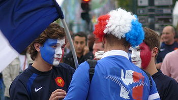 Frenchmen dressed up for the Rugby World Cup Opening Ceremony.jpg