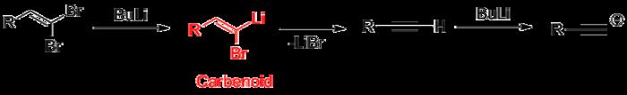 Fritsch-Buttenberg-Wiechell-Umlagerung, rot markiert das Carbenoid