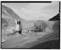 Front of Pineview Dam, looking east. - Ogden Canyon Conduit, Ogden, Weber County, UT HAER UTAH,29-OGCA,2-1.tif