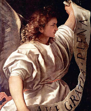 English: Archangel Gabriel (detail) in Polypty...
