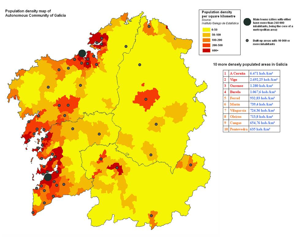 Galicia densidade de poboacion
