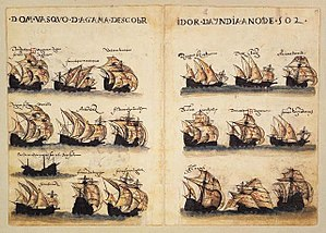 Square-rigged caravel - Naus and square-rigged caravels in the 4th Portuguese India Armada of 1502 (Livro de Lisuarte de Abreu)