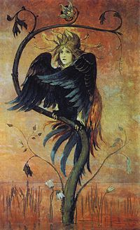 Gamayun, one of three prophetic birds of Russian folklore, alongside Alkonost and Sirin (painting by Viktor Vasnetsov, 1897).