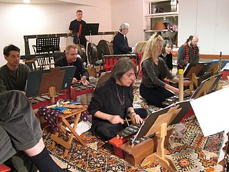 American gamelan - Gamelan Son of Lion, a Javanese-style iron American gamelan based in New York City that is devoted to new music, playing in a loft in Soho, Manhattan in 2007