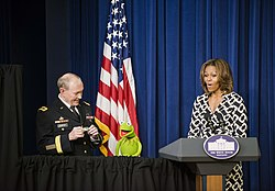 General Dempsey, Kermit the Frog, and Michelle Obama (13115193523).jpg