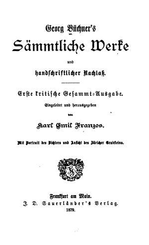 Karl Emil Franzos - Title page of Franzos's Büchner edition
