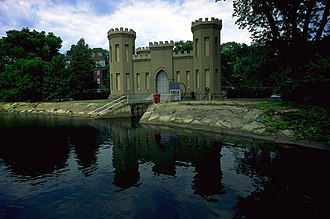 Georgetown Reservoir - The Castle Gatehouse, modeled after the U.S. Army Corps of Engineers insignia