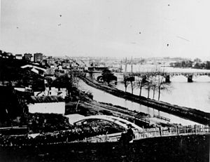 Georgetown (Washington, D.C.) - Georgetown around 1862. Overview of the C&O Canal, Aqueduct Bridge at right, and unfinished Capitol dome in the distant background.