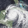 Hurricane Gilbert near peak intensity off the Yucatan Peninsula on September 13, 1988